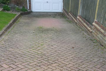Before Pressure Tech cleaned the driveway in Meopham
