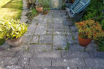 Before Pressure Tech cleaned the Patio in Tunbridge Wells, Kent TN1